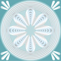 White fractal inspired flower in concentric circle shape on light blue background, optical art style