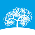 White fractal tree on blue background it s a simplified Stock Photography