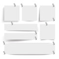 White frame banners thumbtacks with on the background Stock Image