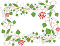 White frame with leaves,berries and place for text Royalty Free Stock Image