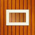 White frame on a wooden background wooden boards are arranged in a row Royalty Free Stock Photo