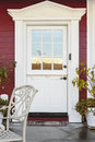 White front door of an upscale home Royalty Free Stock Photo