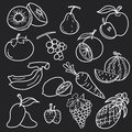 White fruit line draw abstract vector set design Royalty Free Stock Photo