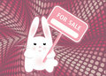 White funny rabbit holding sign FOR SALE Royalty Free Stock Photos
