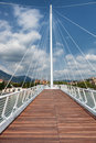White futuristic bridge modern suspension over the river Royalty Free Stock Photography
