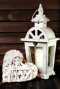 White gardens lantern and heart Royalty Free Stock Photo