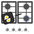 White gas stove with frying pan and fried eggs. Top view vector illustration.