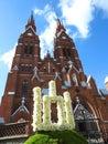 White Gedeminaiciu columns near church, Lithuania Royalty Free Stock Photo