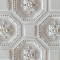 White geometric ornamental pattern of ceiling for background, square Royalty Free Stock Photo