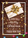 White gift box with a beautiful gold bow on wooden background. Merry Christmas and Happy New Year greeting card. Vintage Royalty Free Stock Photo