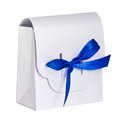 White gift box blue satin ribbon isolated on background Royalty Free Stock Photo