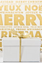 White gift box before gold and white background with golden bow with christmas messages in different languages Royalty Free Stock Images