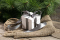 White gift box with grey ribbons, cristmas tree branch and rope Royalty Free Stock Photo