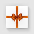 White Gift Box with Orange Satin Bow and Ribbon
