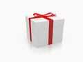 White gift box single with red ribbon isolated on background Royalty Free Stock Photo