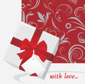 White gift box with tag and bow Royalty Free Stock Image