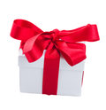 White gift boxe with red bow isolated on background Royalty Free Stock Photo