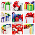 White gift boxes with varicolored ribbon on a background Stock Photography
