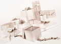 White gifts boxes with silver bows .