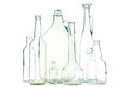 White glass bottles group of mixed clear colorless or waste on Stock Photography