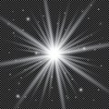 White glowing light burst explosion with transparent. Vector illustration for cool effect decoration with ray sparkles. Bright sta Royalty Free Stock Photo