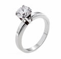 White gold diamond ring with big isolated on Royalty Free Stock Photos