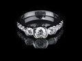 White gold diamond ring on black background Royalty Free Stock Images