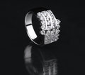 White gold diamond ring on black background Royalty Free Stock Image