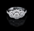 White gold diamond ring on black background Stock Photo