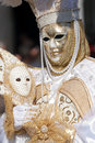 White and golden mask at Carnival of Venice Royalty Free Stock Images