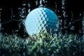 White Golf ball submerged under water