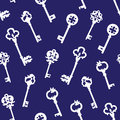 White gothic keys on blue seamless vector pattern Royalty Free Stock Photo
