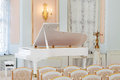 White grand piano concert hall rows chairs Royalty Free Stock Photography