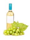 White grapes bottle wine on background Royalty Free Stock Images