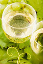 White grapes wine glass macro closeup Stock Image