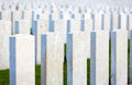 White gravestones in flanders fields blank anonymous great war headstones of graves at tyne cot cemetery near ypres belgium Royalty Free Stock Photo