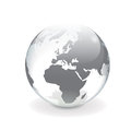 White gray vector world globe europe and transparent d with map of round shiny mirror surface effect on background Stock Photo