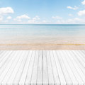 White gray wooden floor ,sea and blue sky background. Summer on Royalty Free Stock Photo