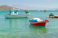 White greek boats coast crete Royalty Free Stock Image