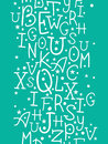White on green alphabet letters vertical seamless pattern background vector Stock Photos