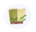 White and green asparagus with anchovies on a plate Royalty Free Stock Photos