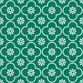White on green club and circle seamless repeat pattern background