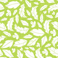White on green leaves silhouettes seamless pattern vector background with hand drawn elements Royalty Free Stock Image