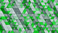 White and green linear extruded triangles 3D render