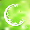 White Green Origami Crescent Moon with Mosque. Ramadan Kareem Greeting card.