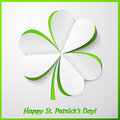 White and green paper cutout clover Royalty Free Stock Image