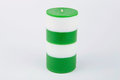 White and green striped handmade candle Royalty Free Stock Photo