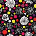 White or grey and inverse black roses blossom on black background with dots lentils in pastel colors. Pink, violet, yellow