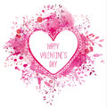 White hand drawn heart frame with text happy valentine's day. Pink watercolor splash background with branches. Artistic design con Royalty Free Stock Photo