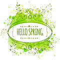 White hand drawn ornate frame with doodle bird and template text hello spring. Green watercolor splash background. Creative design Royalty Free Stock Photo
